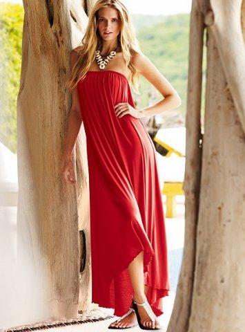 kırmızı rahat kadın elbise modelleri