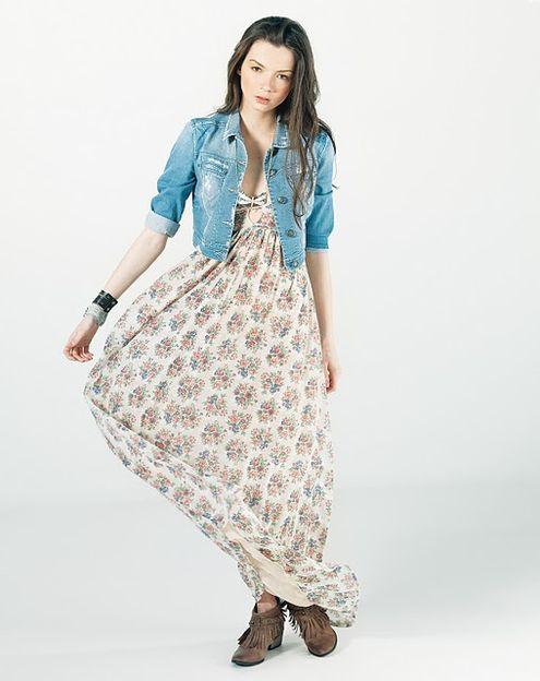 Günlük uzun genç kız elbise modeli
