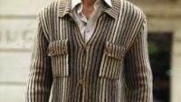 Boydan Çizgili Düğmeli Cepli Erkek Hırka
